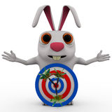 3d rabbit with red blue dartboard hit by green Stock Photos