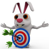3d rabbit with red blue dartboard hit by green arrow concept Royalty Free Stock Images