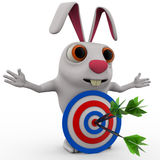 3d rabbit with red blue dartboard hit by green arrow concept Stock Image