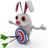 3d rabbit with red blue dartboard hit by green arrow concept Stock Photography