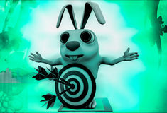 3d rabbit with red blue dartboard hit by green arrow illustration Stock Photos
