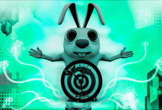 3d rabbit with red blue dartboard hit by green arrow illustration Stock Photo