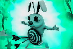 3d rabbit with red blue dartboard hit by green arrow illustration Royalty Free Stock Photos