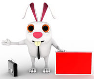 3d rabbit with red board for advertise and briefcase concept Stock Photography