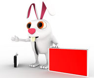 3d rabbit with red board for advertise and briefcase concept Stock Photos