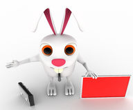 3d rabbit with red board for advertise and briefcase concept Royalty Free Stock Photography