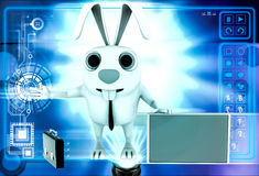 3d rabbit with red board for advertise and briefcase illustration Royalty Free Stock Photos