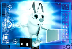 3d rabbit with red board for advertise and briefcase illustration Stock Photos