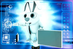 3d rabbit with red board for advertise and briefcase illustration Stock Photography