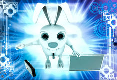 3d rabbit with red board for advertise and briefcase illustration Royalty Free Stock Image
