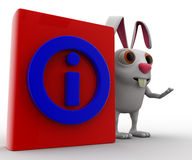 3d rabbit with red book information symbol on it concept Royalty Free Stock Image