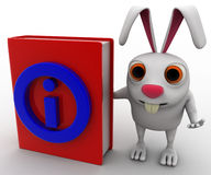 3d rabbit with red book information symbol on it concept Royalty Free Stock Photos