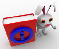 3d rabbit with red book information symbol on it concept Royalty Free Stock Photo