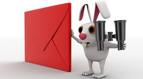 3d rabbit with red envelop and binocular concept Stock Image