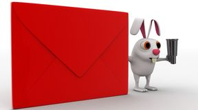 3d rabbit with red envelop and binocular concept Royalty Free Stock Images