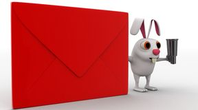 3d rabbit with red envelop and binocular concept Stock Photos