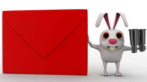 3d rabbit with red envelop and binocular concept Stock Photo