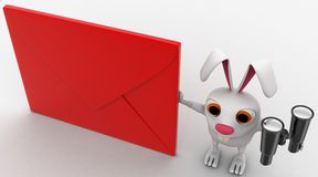 3d rabbit with red envelop and binocular concept Royalty Free Stock Image