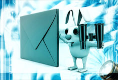 3d rabbit with red envelop and binocular illustration Stock Photo