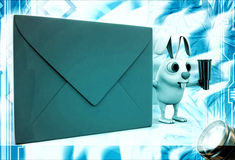 3d rabbit with red envelop and binocular illustration Royalty Free Stock Images