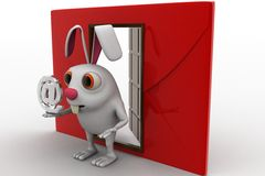 3d rabbit with red envelop beside and @ sign in hand concept Royalty Free Stock Images