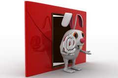 3d rabbit with red envelop beside and @ sign in hand concept Stock Photos