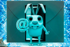 3d rabbit with red envelop beside and @ sign in hand illustration Royalty Free Stock Photo