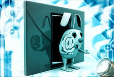 3d rabbit with red envelop beside and @ sign in hand illustration Royalty Free Stock Images