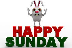 3d rabbit on red and green hapy sunday text concept Royalty Free Stock Image