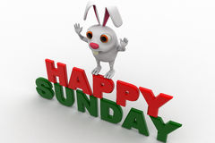 3d rabbit on red and green hapy sunday text concept Stock Images