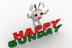 3d rabbit on red and green hapy sunday text concept Royalty Free Stock Photo