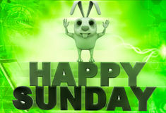 3d rabbit on red and green hapy sunday text illustration Stock Images