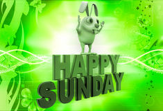 3d rabbit on red and green hapy sunday text illustration Stock Photo