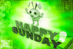 3d rabbit on red and green hapy sunday text illustration Royalty Free Stock Photos