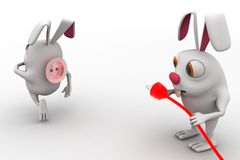 3d rabbit with red plug pin and socket concept Stock Photo
