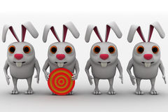 3d rabbit with red and yellow target board concept Stock Images