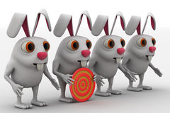 3d rabbit with red and yellow target board concept Royalty Free Stock Photography