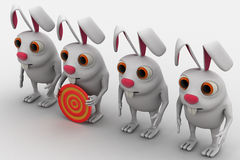 3d rabbit with red and yellow target board concept Stock Photos