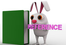 3d rabbit with reference book concept Stock Photo