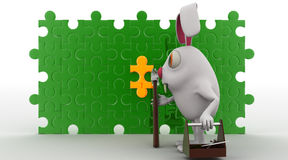 3d rabbit repair puzzle concept Royalty Free Stock Photography