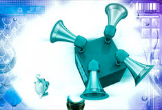 3d rabbit with report here speakers illustration Stock Photography