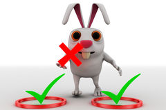 3d rabbit with right symbol and holding wrong symbol in hand concept Royalty Free Stock Photo