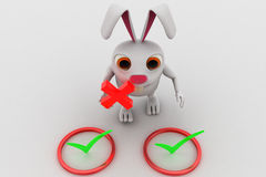 3d rabbit with right symbol and holding wrong symbol in hand concept Stock Image