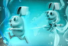 3d rabbit run with fear of injection illustration Royalty Free Stock Image
