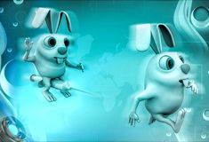 3d rabbit run with fear of injection illustration Royalty Free Stock Photography
