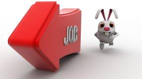 3d rabbit run after job arrow concept Stock Image