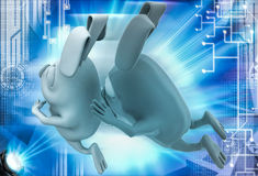 3d rabbit running and another rabbit try to catch illustration Royalty Free Stock Photography