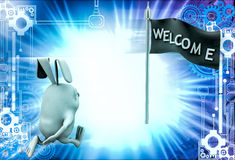 3d rabbit running toward welcome flag illustration Royalty Free Stock Photography