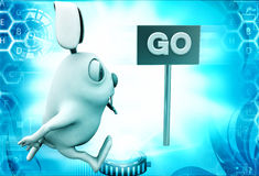 3d rabbit running towards go sign board direction illustration Royalty Free Stock Images