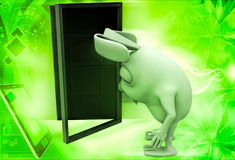3d rabbit sad and entering door illustration Royalty Free Stock Images